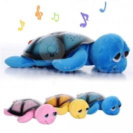 Cuki, nagy szemű plüss világító teknős béka, projektoros lámpa altatódallal hangulatlámpa