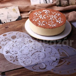 Tortadíszítő sablon készlet, 4 különböző mintával