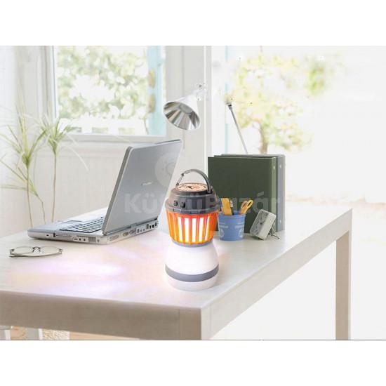 Napelemes hordozható szúnyogirtó lámpa, kemping lámpa állítható fényerővel