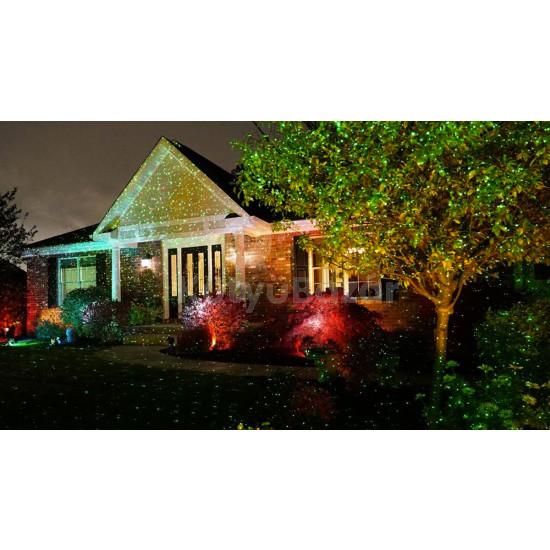 Karácsonyi kültéri világítás, lézeres lámpa