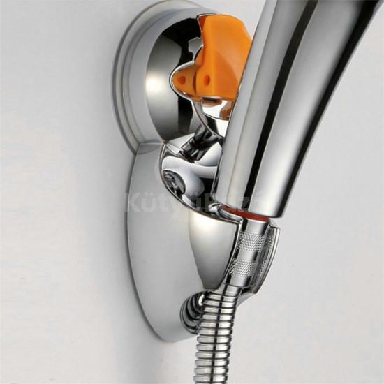 Krómozott zuhanyfej tartó tapadó koronggal