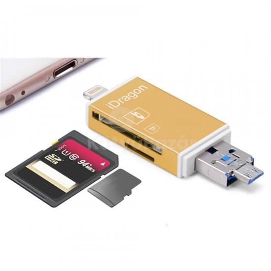 MicroSD SDHC SD TF Kártyaolvasó Iphone/Ipad (lightning), MicroUSB csatlakozókkal