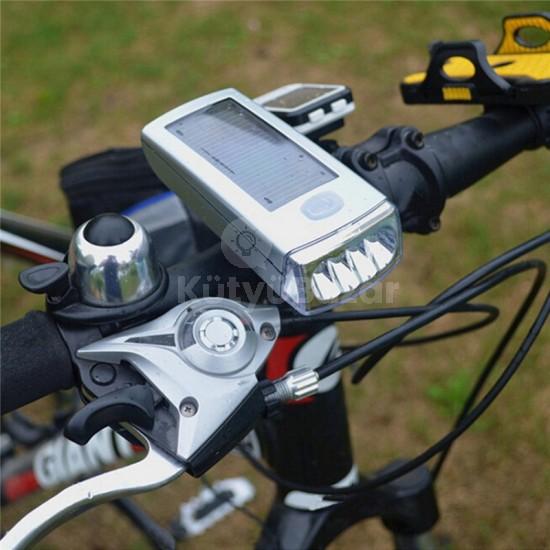 Napelemes kerékpár lámpa beépített akkumulátorral