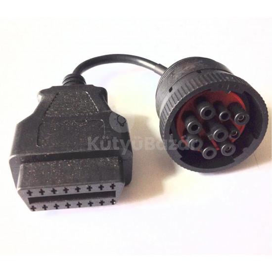 9 Pin deutsch J1939 (Female) to OBD OBD2 (Female) Adapter teherautó diagnosztikai átalakító kábel