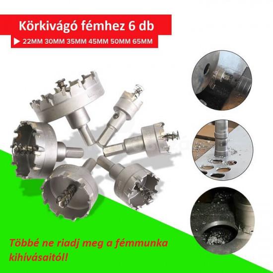 Körkivágó fémhez, lyukfűrész (6 db-os készlet)