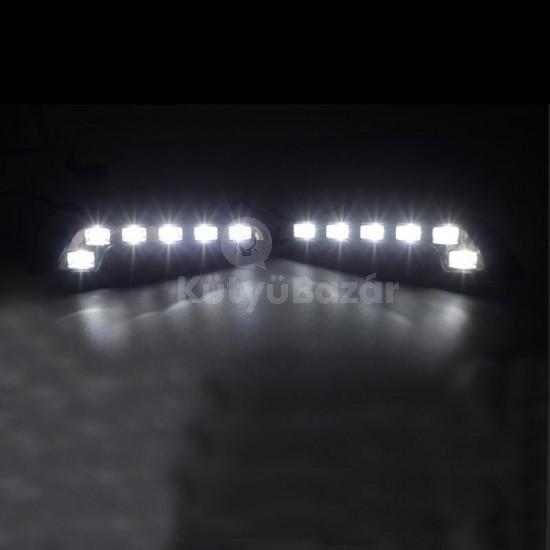 Autós nappali fény, fehér led lámpa 6 égős