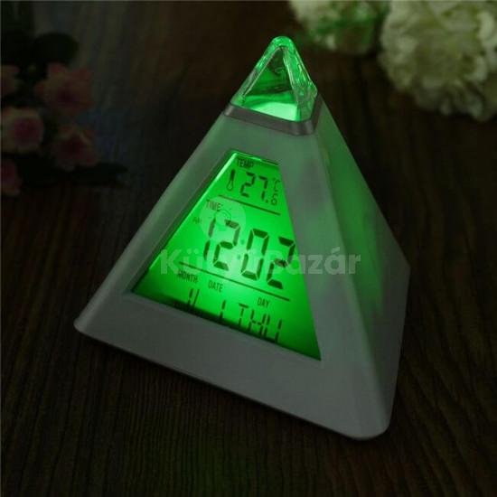 Ébresztőóra, digitális óra, asztali óra (színváltós, piramis alakú)