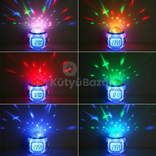 Zenélő csillagkivetítős asztali lámpa hangulatlámpa asztali óra