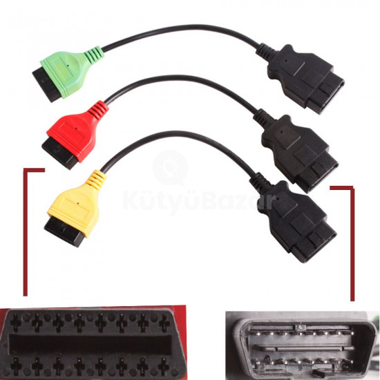 FiatEcuScan MultiEcuScan adapter 3 db kábel Motor, ABS, Légzsák, Szervókormány