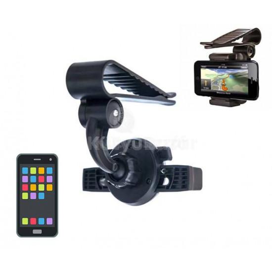 Napellenzőre, visszapillantóra szerelhető autós telefontartó