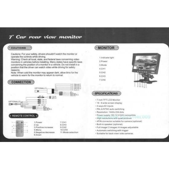 """7"""" 4 CH TFT LCD TOLATÓKAMERA MONITOR"""