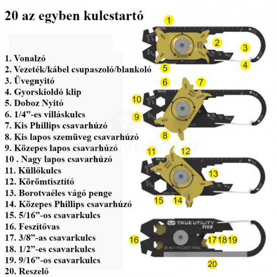 20 az egyben kulcstartó
