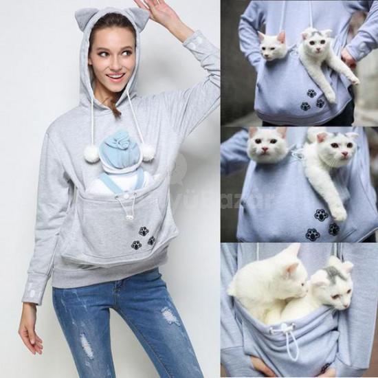 Macskahordozó, cicahordozó pulcsi, macskás pulóver, cicás pulcsi