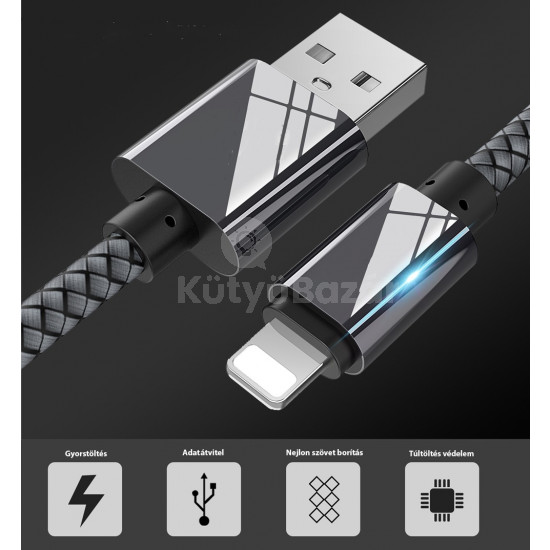 Extra strapabíró 1 méteres Lightning Iphone gyorstöltő és USB adatkábel