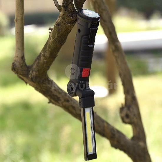 USB-n keresztül tölthető 360 fokban forgatható mágneses LED lámpa, vészvilágítás, állítható fényerővel