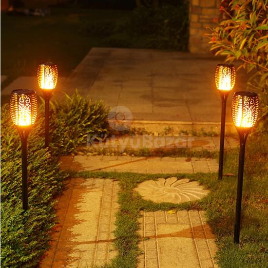 Kültéri lámpa, fáklya állólámpa, díszvilágítás (napelemes)