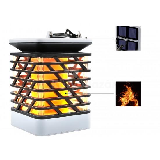 75 LED-es tűzhatású felakasztható napelemes kerti lámpa