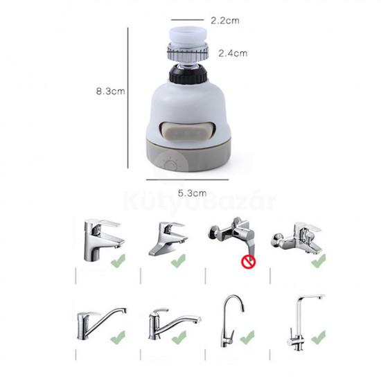 Csapfej, víztakarékos csapfej (mozgatható, állítható sugarú)