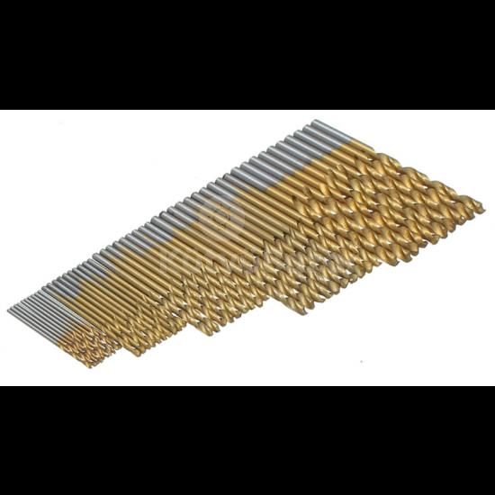 50 db-os Fúrószár készlet Titán-gyorsacél bevonattal
