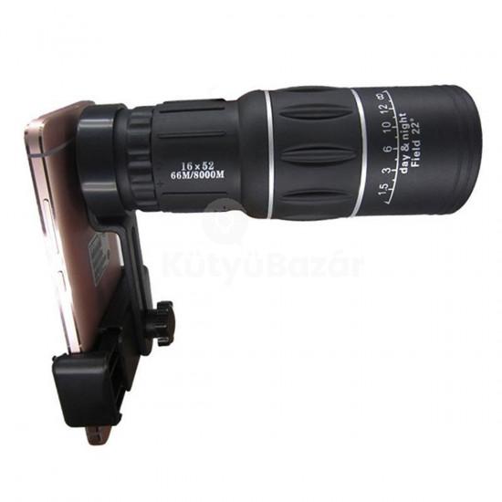 16x52 Zoom távcső, teleobjektív mobiltelefonra