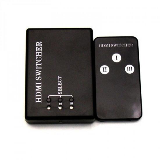 HDMI switch switcher elosztó 3 port távirányítóval