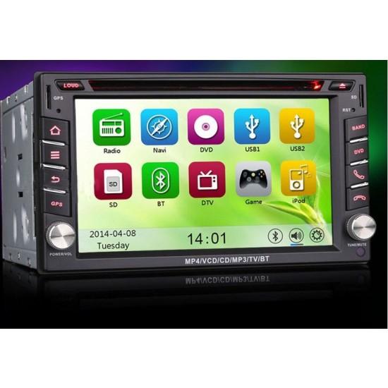 6.2' HD Érintőkijelzős Autós DVD 2 DIN multimédiás fejegység GPS csatlakozás lehetőségével