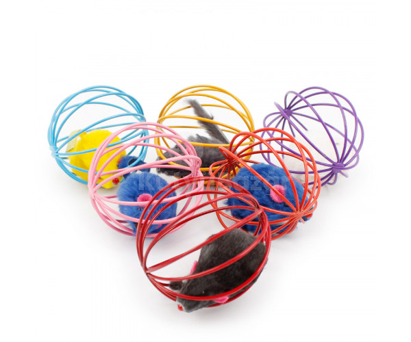 Játék egér rácsos labdában