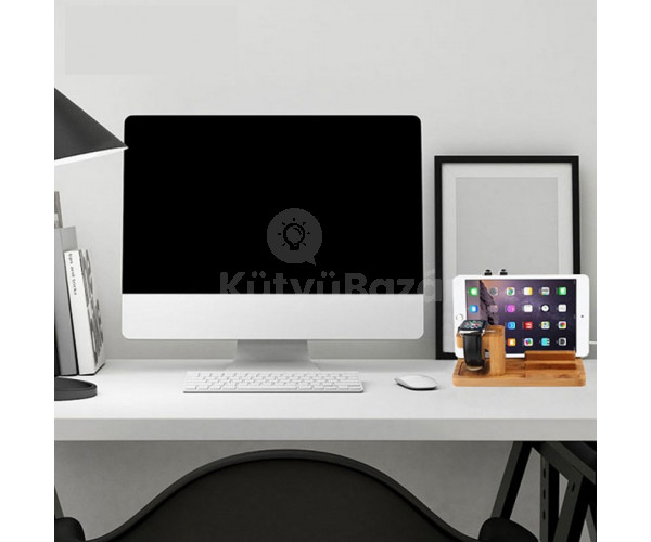 iPad, iPhoneés Apple Watch dokkoló, fa dizájn
