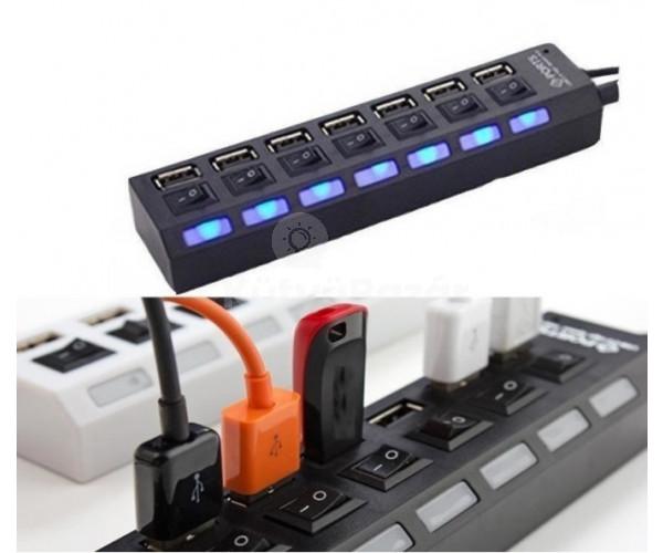 7 portos kapcsolható USB hub - Fekete