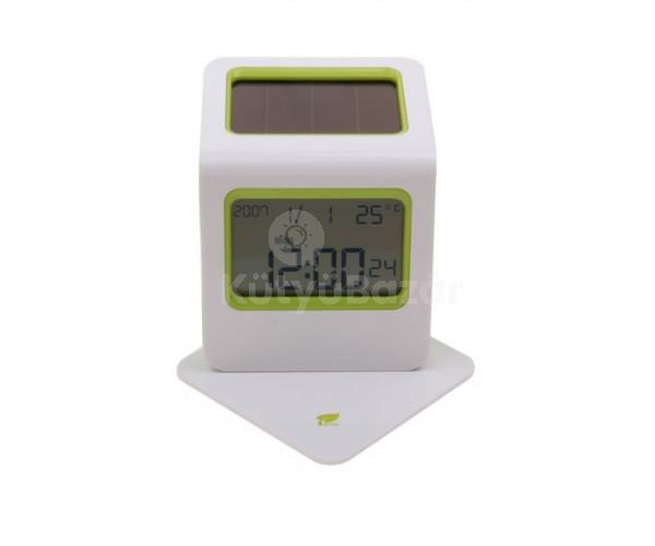 Hőmérséklet kijelzős napelemes dekor asztali ébresző óra