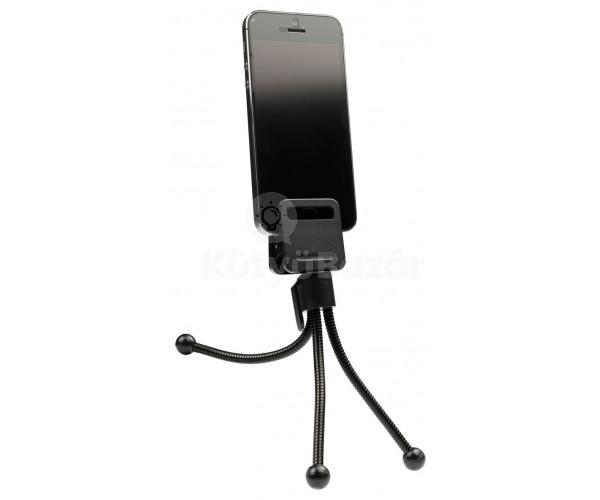 Tripod állvány okostelefonhoz gumírozott rögzítővel