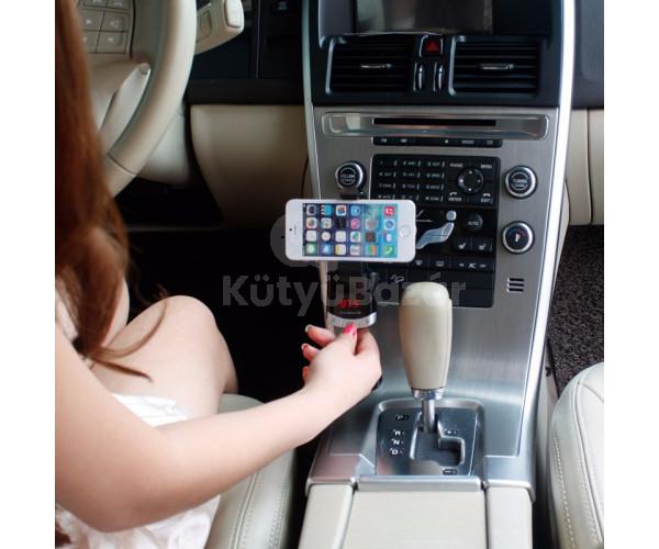 Vezeték nélküli bluetooth transmitter mobiltelefon tartóval LCD kijelzővel