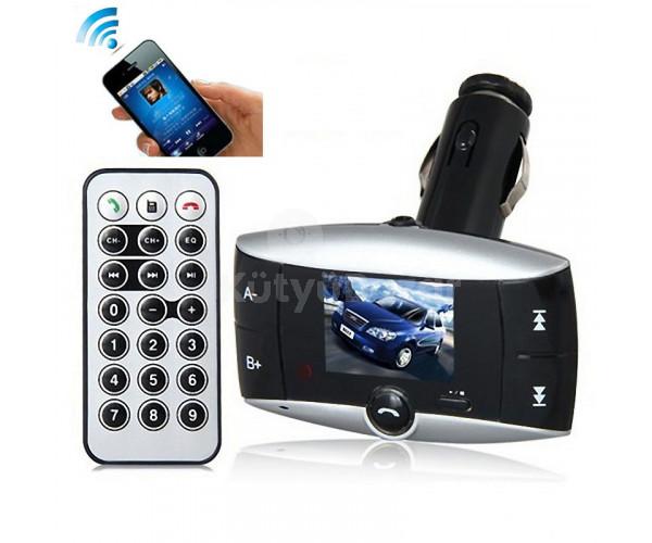 """Bluetooth FM transzmitter 1,5"""" színes LCD kijelzővel"""