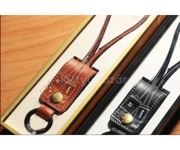 Valódi bőr kulcstartóba beépített iPhone töltő kábel