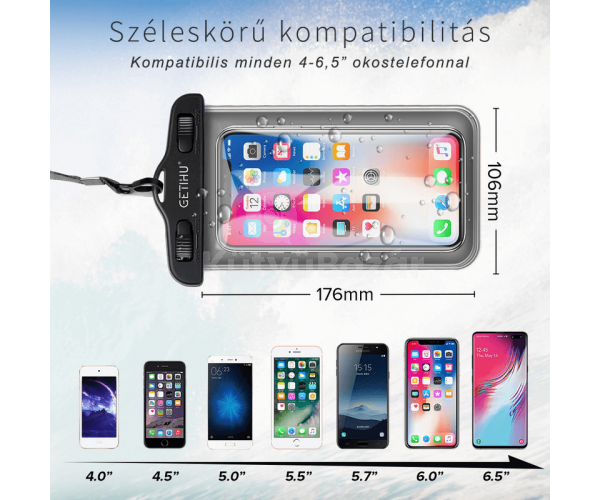 Vízálló telefontartó tasak
