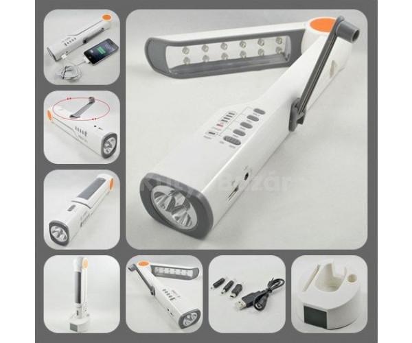 7 az 1-ben Multifunkciós napelemes, dinamós lámpa, power bank