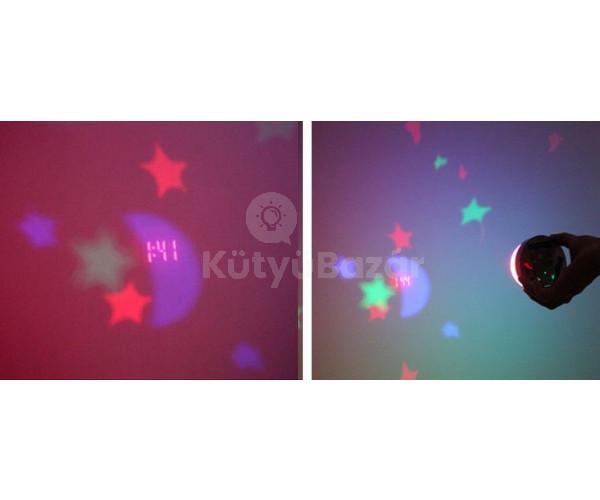 Csillag és hold projektoros óra lámpa gyerekeknek, kivetítős óra asztali óra hangulatlámpa