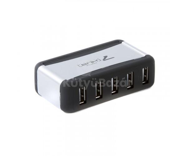 USB HUB táppal 7 portos USB 2.0 elosztó PC-hez, laptophoz