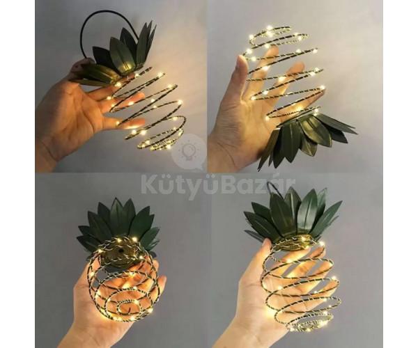 25 LED-es ananász formájú napelemes kültéri dekorációs lámpa