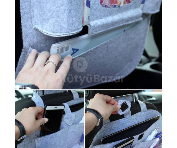 Autóülésre rögzíthető tároló
