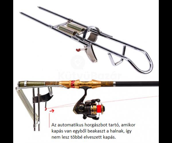 Automatikus horgászbot tartó, rozsdamentes acélból