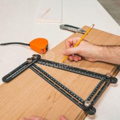 Handy fém négyoldalú vonalzó, szögmásoló - 31 x 18 cm