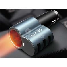 LDNIO CM11 Autós szivargyújtós csatlakozó 3 db USB gyorstöltő porttal