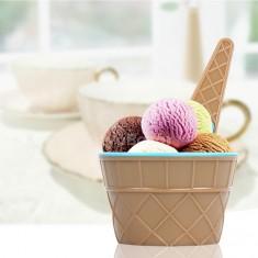 Fagylaltpohár+kanál szett műanyag 4 db