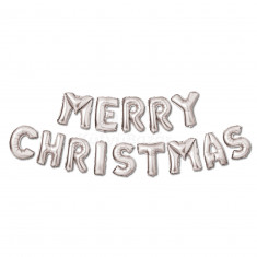 3D Karácsonyi 'Merry Christmas' lufi - ezüst 3 db