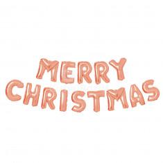 3D Karácsonyi 'Merry Christmas' lufi - rozéarany 3 db
