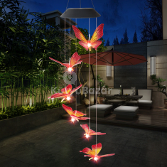 Világító pillangós szélcsengő (napelemes)