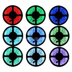 5 méter RGB színes LED szalag, LED fénysor, Ledsor, ledszalag távirányítóval, kapcsolható színekkel, adapterrel