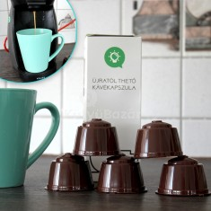 Újratölthető kávékapszula, utántölthető kapszula 5 db