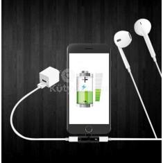 8pin-es mini adapter fülhallgató és töltő bemenettel iPhone-hoz